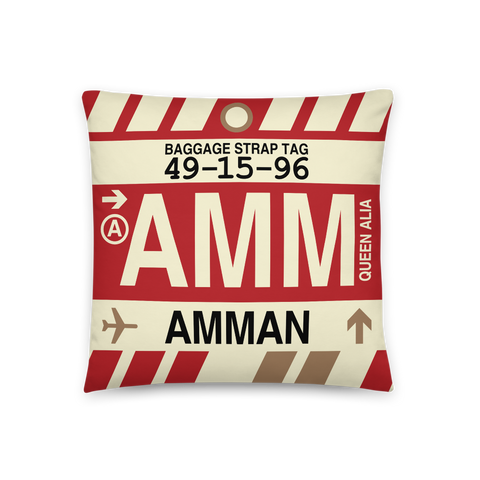YHM Designs - AMM Amman Throw Pillow - Airport Code and Vintage Baggage Tag Design - Front