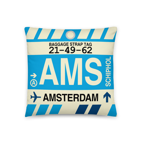 YHM Designs - AMS Amsterdam Throw Pillow - Airport Code and Vintage Baggage Tag Design - Front