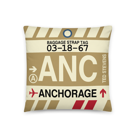 YHM Designs - ANC Anchorage Throw Pillow - Airport Code and Vintage Baggage Tag Design - Front