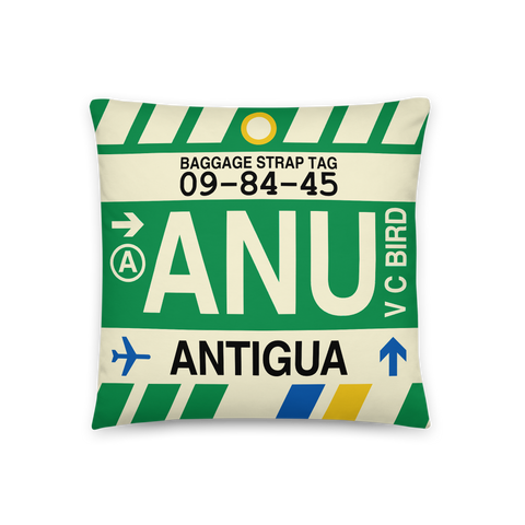 YHM Designs - ANU Antigua Throw Pillow - Airport Code and Vintage Baggage Tag Design - Front