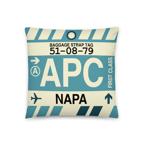 YHM Designs - APC Napa Throw Pillow - Airport Code and Vintage Baggage Tag Design - Front