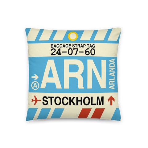 YHM Designs - ARN Stockholm Throw Pillow - Airport Code and Vintage Baggage Tag Design - Front