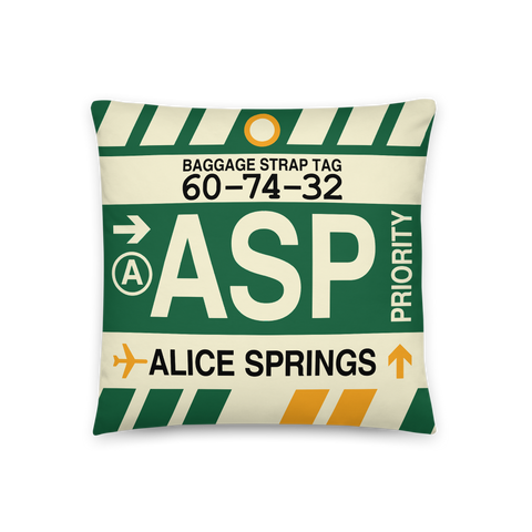 YHM Designs - ASP Alice Springs Throw Pillow - Airport Code and Vintage Baggage Tag Design - Front