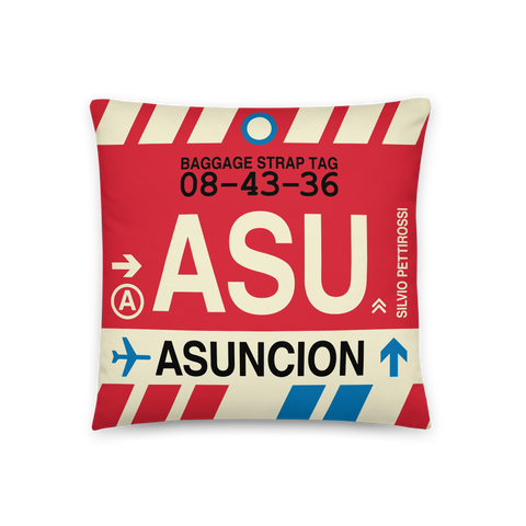 YHM Designs - ASU Asuncion Throw Pillow - Airport Code and Vintage Baggage Tag Design - Front