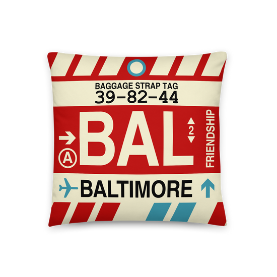 Bal Baltimore Maryland Throw Pillow Airport Code Vintage Baggage Tag Design Yhm Designs