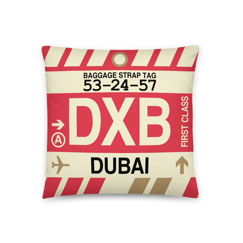 YHM Designs - DXB Dubai Throw Pillow - Airport Code and Vintage Baggage Tag Design - Front