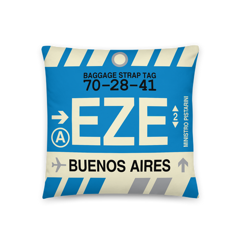YHM Designs - EZE Buenos Aires Throw Pillow - Airport Code and Vintage Baggage Tag Design - Front