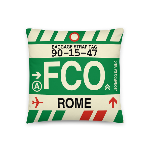 YHM Designs - FCO Rome Throw Pillow - Airport Code and Vintage Baggage Tag Design - Front