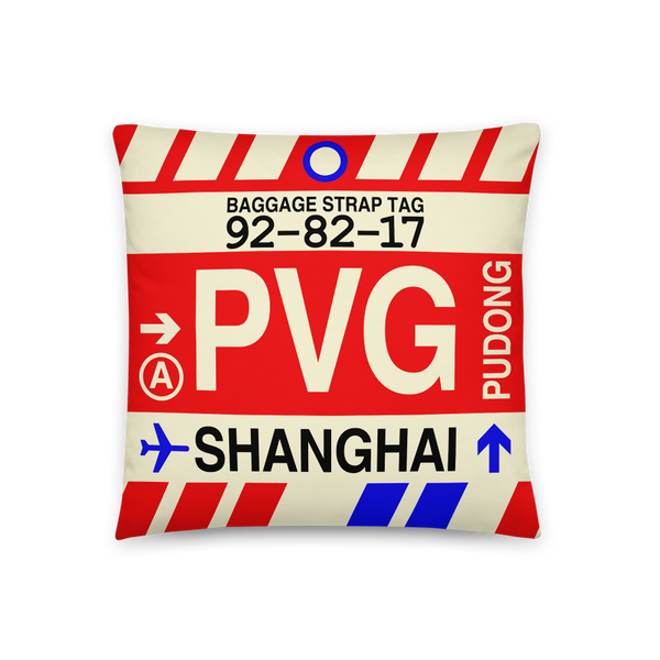 YHM Designs - PVG Shanghai Throw Pillow - Airport Code and Vintage Baggage Tag Design - Front