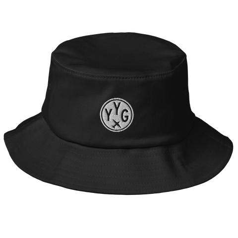 YHM Designs - YYG Charlottetown Old School Cool Bucket Hat with Airport Code - City-Themed Merchandise - Roundel Design with Vintage Airplane - Image 1
