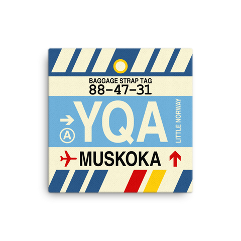 "YHM Designs - YQA Muskoka Airport Code Canvas Print with Vintage Baggage Tag Design - 12""x12"""