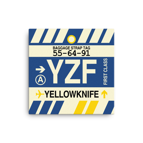 "YHM Designs - YZF Yellowknife Airport Code Canvas Print with Vintage Baggage Tag Design - 12""x12"""