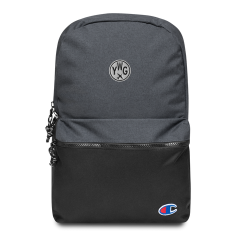 YHM Designs - YWG Winnipeg Airport Code Vintage Roundel Embroidered Champion Backpack - Mockup 01