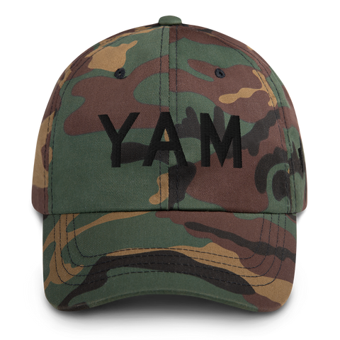 YHM Designs - YAM Sault-Ste-Marie Airport Code Classic Lettering Design Baseball Cap Dad Hat - Mockup 01