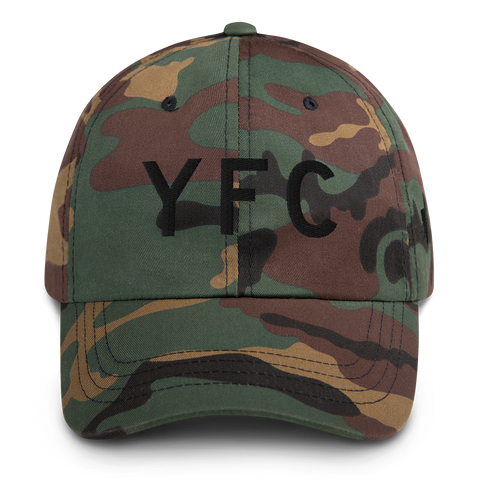 YHM Designs - YFC Fredericton Airport Code Classic Lettering Design Baseball Cap Dad Hat - Mockup 01