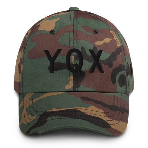 YHM Designs - YQX Gander Airport Code Classic Lettering Design Baseball Cap Dad Hat - Mockup 01
