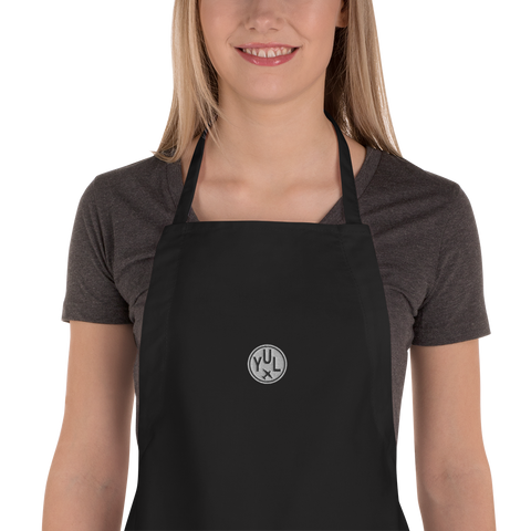 YHM Designs - YUL Montreal Airport Code Vintage Roundel Kitchen Apron - Mockup 01