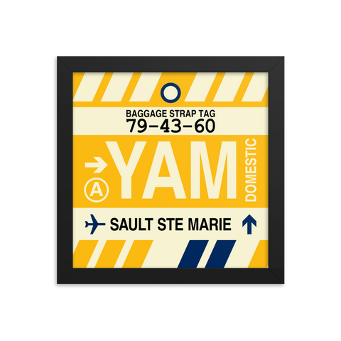 "YHM Designs - YAM Sault-Ste-Marie Airport Code Poster with Vintage Baggage Tag Design - 10""x10"""