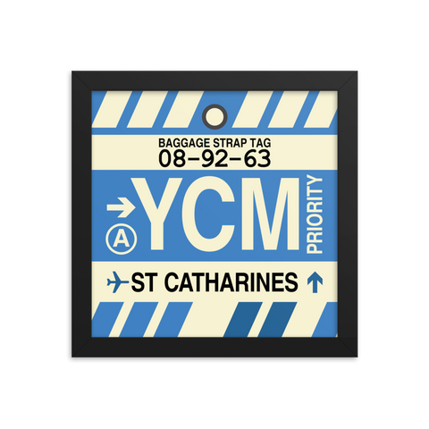 "YHM Designs - YCM St. Catharines Airport Code Poster with Vintage Baggage Tag Design - 10""x10"""