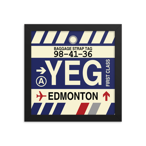 "YHM Designs - YEG Edmonton Airport Code Poster with Vintage Baggage Tag Design - 10""x10"""