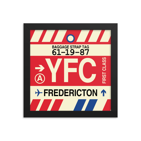 "YHM Designs - YFC Fredericton Airport Code Poster with Vintage Baggage Tag Design - 10""x10"""