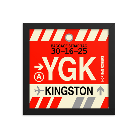"YHM Designs - YGK Kingston Airport Code Poster with Vintage Baggage Tag Design - 10""x10"""