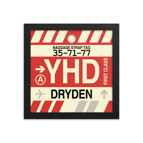 "YHM Designs - YHD Dryden Airport Code Poster with Vintage Baggage Tag Design - 10""x10"""