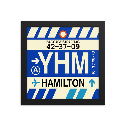 "YHM Designs - YHM Hamilton Airport Code Poster with Vintage Baggage Tag Design - 10""x10"""