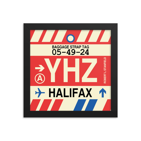"YHM Designs - YHZ Halifax Airport Code Poster with Vintage Baggage Tag Design - 10""x10"""