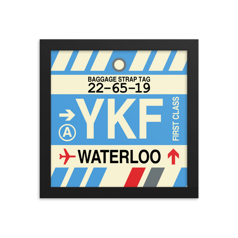 "YHM Designs - YKF Waterloo Airport Code Poster with Vintage Baggage Tag Design - 10""x10"""