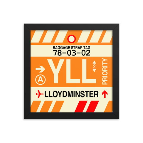 "YHM Designs - YLL Lloydminster Airport Code Poster with Vintage Baggage Tag Design - 10""x10"""