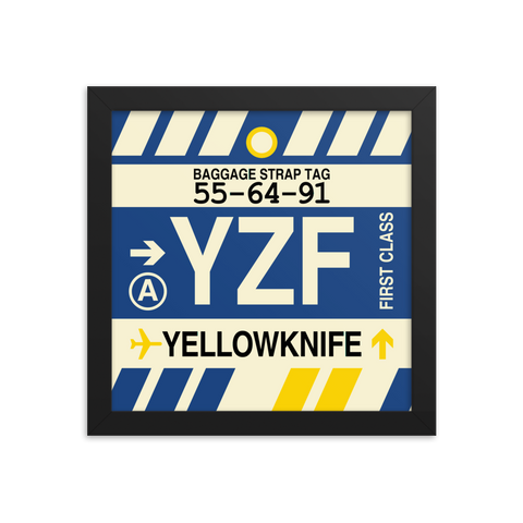 "YHM Designs - YZF Yellowknife Airport Code Poster with Vintage Baggage Tag Design - 10""x10"""