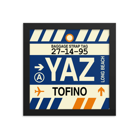"YHM Designs - YAZ Tofino Airport Code Poster with Vintage Baggage Tag Design - 10""x10"""