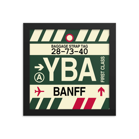 "YHM Designs - YBA Banff Airport Code Poster with Vintage Baggage Tag Design - 10""x10"""