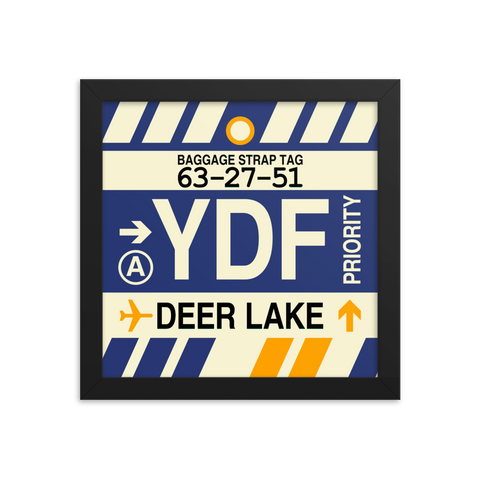 "YHM Designs - YDF Deer Lake Airport Code Poster with Vintage Baggage Tag Design - 10""x10"""