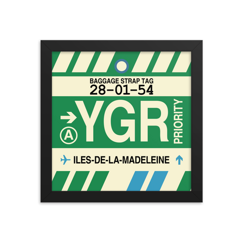 "YHM Designs - YGR Îles-de-la-Madeleine Airport Code Poster with Vintage Baggage Tag Design - 10""x10"""