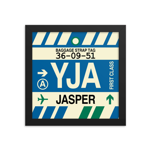 "YHM Designs - YJA Jasper Airport Code Poster with Vintage Baggage Tag Design - 10""x10"""
