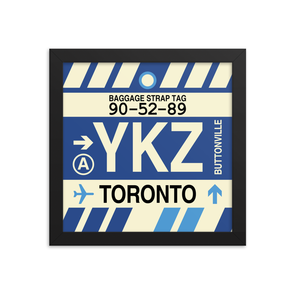 "YHM Designs - YKZ Toronto Airport Code Poster with Vintage Baggage Tag Design - 10""x10"""