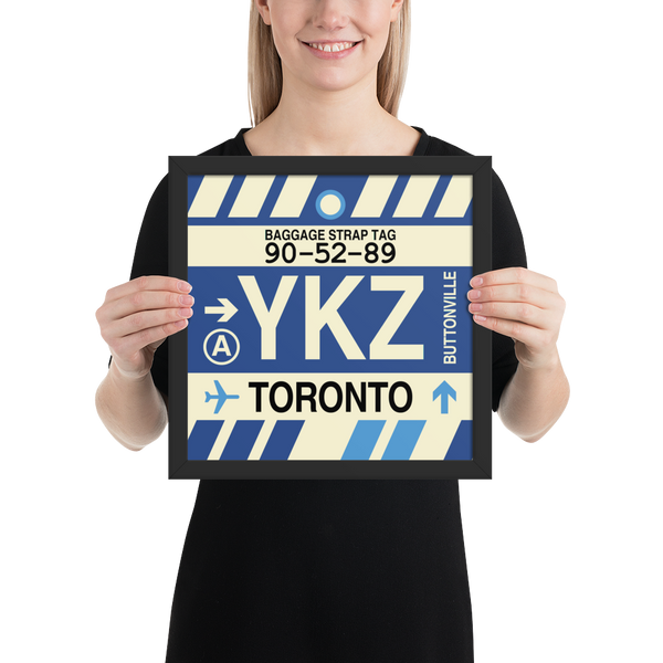 "YHM Designs - YKZ Toronto Airport Code Poster with Vintage Baggage Tag Design - 12""x12"""