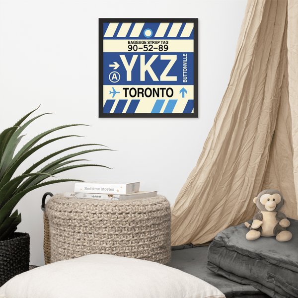 "YHM Designs - YKZ Toronto Airport Code Poster with Vintage Baggage Tag Design - 16""x16"""