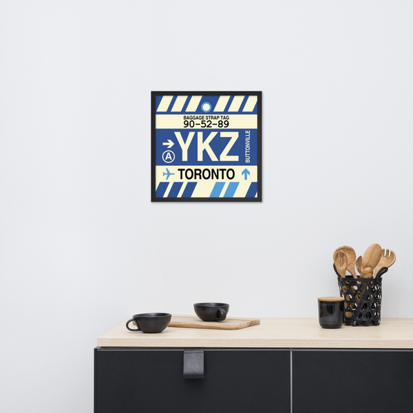 "YHM Designs - YKZ Toronto Airport Code Poster with Vintage Baggage Tag Design - 18""x18"""