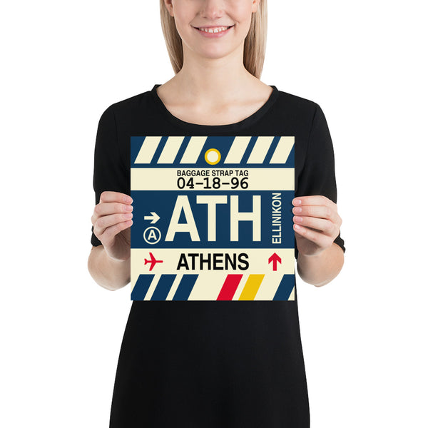 "YHM Designs - ATH Athens Airport Code Poster with Vintage Baggage Tag Design - 10""x10"""