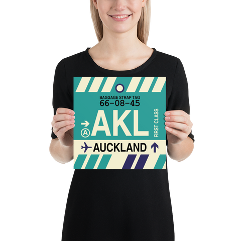 "YHM Designs - AKL Auckland Airport Code Poster with Vintage Baggage Tag Design - 10""x10"""