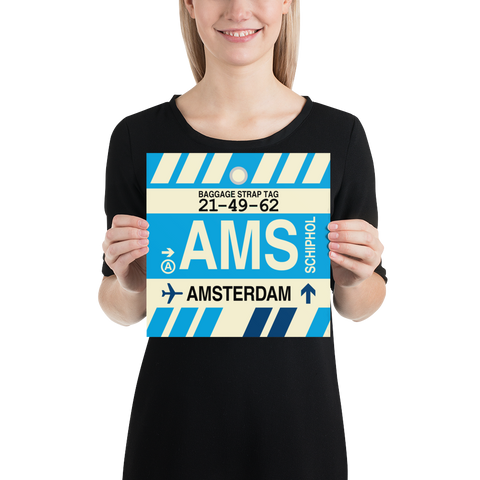 "YHM Designs - AMS Amsterdam Airport Code Poster with Vintage Baggage Tag Design - 10""x10"""