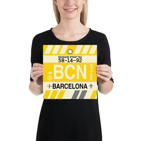 "YHM Designs - BCN Barcelona Airport Code Poster with Vintage Baggage Tag Design - 10""x10"""