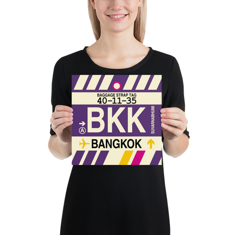 "YHM Designs - BKK Bangkok Airport Code Poster with Vintage Baggage Tag Design - 10""x10"""