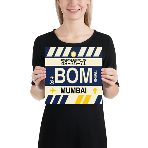 "YHM Designs - BOM Mumbai Airport Code Poster with Vintage Baggage Tag Design - 10""x10"""