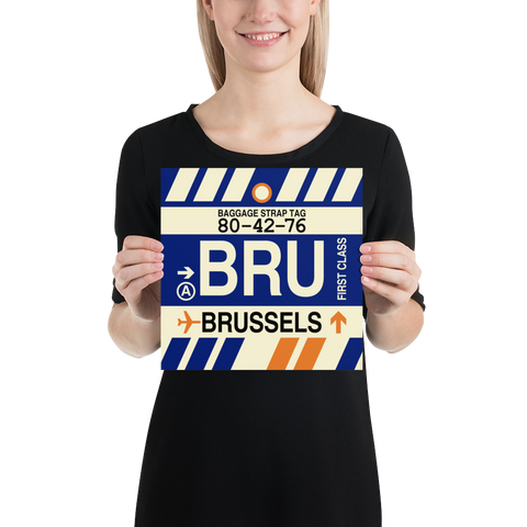 "YHM Designs - BRU Brussels Airport Code Poster with Vintage Baggage Tag Design - 10""x10"""