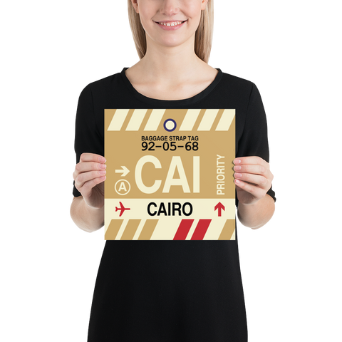 "YHM Designs - CAI Cairo Airport Code Poster with Vintage Baggage Tag Design - 10""x10"""