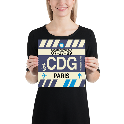 "YHM Designs - CDG Paris Airport Code Poster with Vintage Baggage Tag Design - 10""x10"""